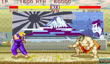 In-game screen of the game Street Fighter II' - Hyper Fighting on Capcom CPS-I