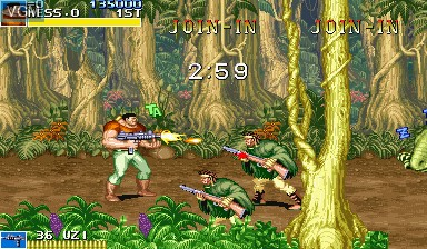 In-game screen of the game Cadillacs and Dinosaurs on Capcom CPS-I