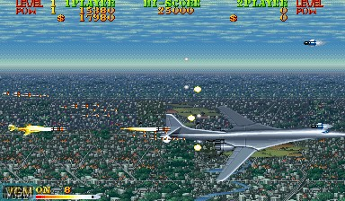 In-game screen of the game Carrier Air Wing on Capcom CPS-I