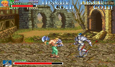 In-game screen of the game Knights of the Round on Capcom CPS-I