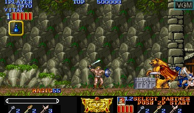 In-game screen of the game Magic Sword - Heroic Fantasy on Capcom CPS-I