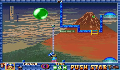 In-game screen of the game Pang! 3 on Capcom CPS-I