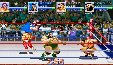 In-game screen of the game Saturday Night Slam Masters on Capcom CPS-I