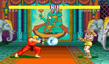 In-game screen of the game Street Fighter II - The World Warrior on Capcom CPS-I