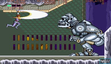 In-game screen of the game Strider on Capcom CPS-I