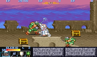 In-game screen of the game The King of Dragons on Capcom CPS-I