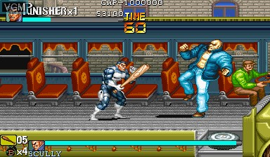 In-game screen of the game The Punisher on Capcom CPS-I