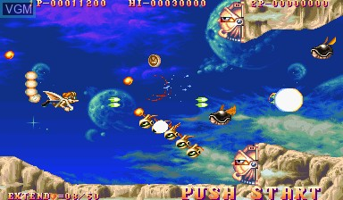In-game screen of the game Three Wonders on Capcom CPS-I