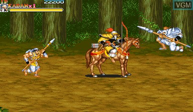 In-game screen of the game Warriors of Fate on Capcom CPS-I