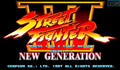 Title screen of the game Street Fighter III - New Generation on Capcom CPS-III
