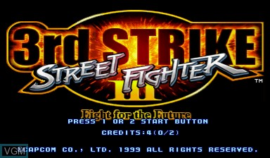 Title screen of the game Street Fighter III - 3rd Strike on Capcom CPS-III