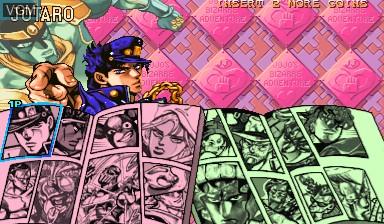 Menu screen of the game Jojo's Bizarre Adventure - Heritage for the Future / JoJo no Kimyouna Bouken - Miraie no Isan on Capcom CPS-III