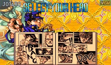 Menu screen of the game Jojo's Venture/ JoJo no Kimyouna Bouken on Capcom CPS-III