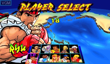 Menu screen of the game Street Fighter III - New Generation on Capcom CPS-III