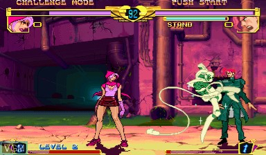 In-game screen of the game Jojo's Bizarre Adventure - Heritage for the Future / JoJo no Kimyouna Bouken - Miraie no Isan on Capcom CPS-III