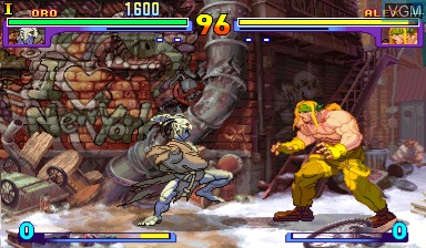 In-game screen of the game Street Fighter III - New Generation on Capcom CPS-III