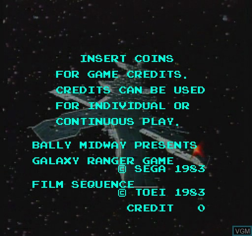 Menu screen of the game Galaxy Ranger on Daphne
