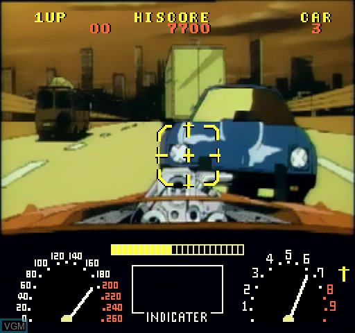 In-game screen of the game Road Blaster on Daphne
