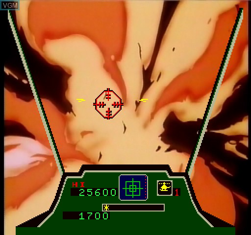 In-game screen of the game Cobra Command on Daphne