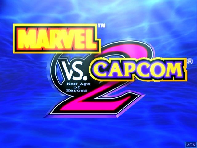 Title screen of the game Marvel vs. Capcom 2 on Sega Dreamcast