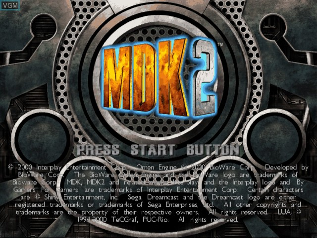 Title screen of the game MDK 2 on Sega Dreamcast