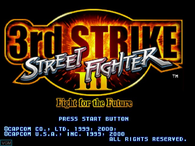 Title screen of the game Street Fighter III 3rd Strike - Fight for the Future on Sega Dreamcast