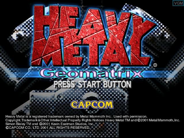 Title screen of the game Heavy Metal - Geomatrix on Sega Dreamcast