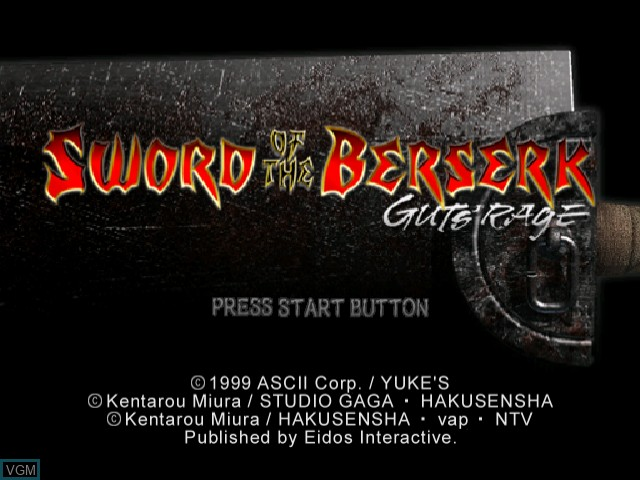 Title screen of the game Sword of the Berserk - Guts' Rage on Sega Dreamcast