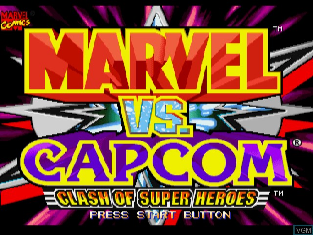 Title screen of the game Marvel vs. Capcom - Clash of Super Heroes on Sega Dreamcast