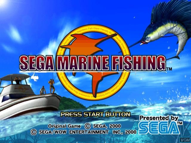 Title screen of the game Sega Marine Fishing on Sega Dreamcast