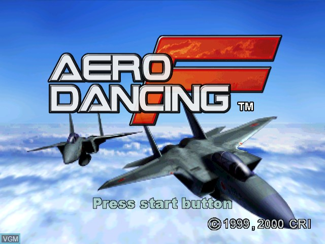 Title screen of the game Aero Dancing F on Sega Dreamcast
