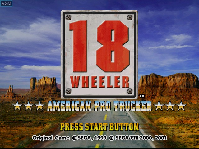 Title screen of the game 18 Wheeler - American Pro Trucker on Sega Dreamcast