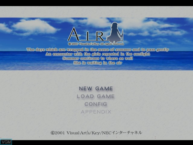 Title screen of the game Air on Sega Dreamcast