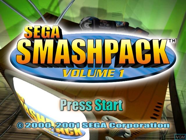 Title screen of the game Sega Smash Pack - Volume 1 on Sega Dreamcast