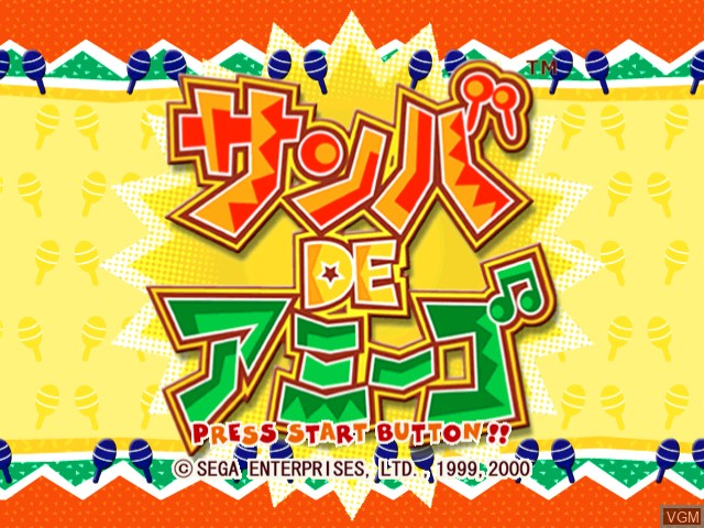 Title screen of the game Samba de Amigo on Sega Dreamcast