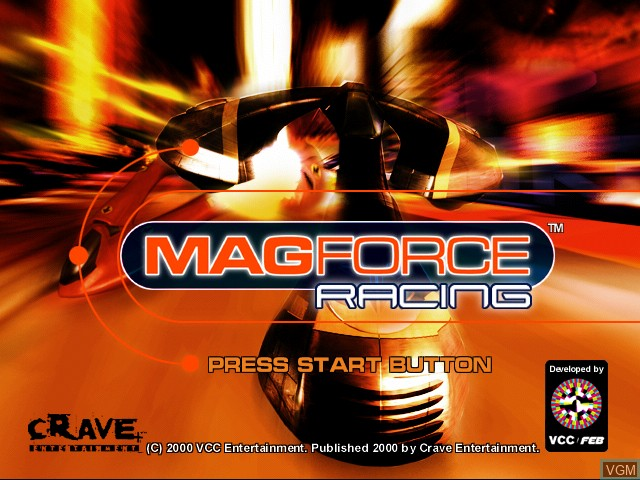 Title screen of the game Magforce Racing on Sega Dreamcast