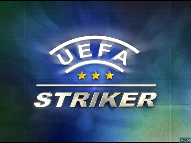 Title screen of the game UEFA Striker on Sega Dreamcast