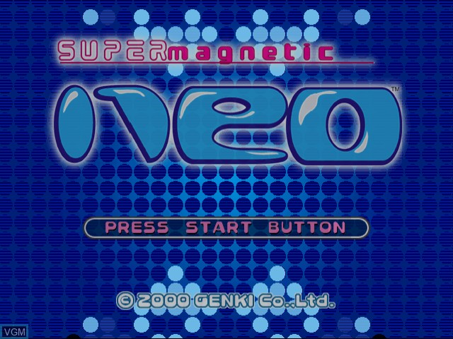 Title screen of the game Super Magnetic Neo on Sega Dreamcast