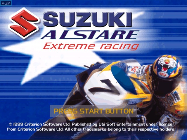 Title screen of the game Suzuki ALSTARE Extreme Racing on Sega Dreamcast