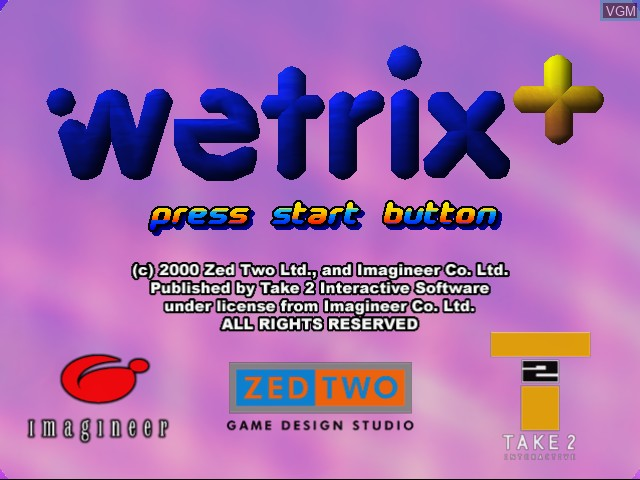 Title screen of the game Wetrix+ on Sega Dreamcast
