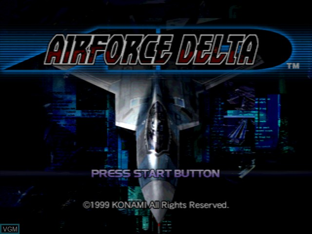 Title screen of the game AirForce Delta on Sega Dreamcast