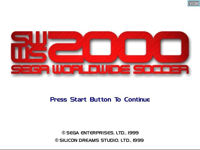Title screen of the game Sega Worldwide Soccer 2000 on Sega Dreamcast