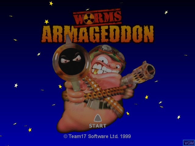 Title screen of the game Worms Armageddon on Sega Dreamcast