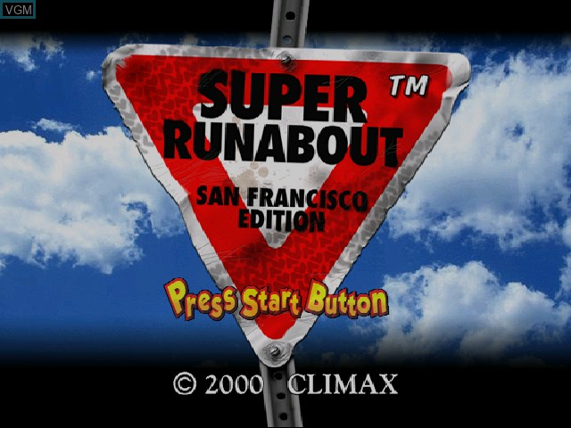 Title screen of the game Super Runabout - San Francisco Edition on Sega Dreamcast