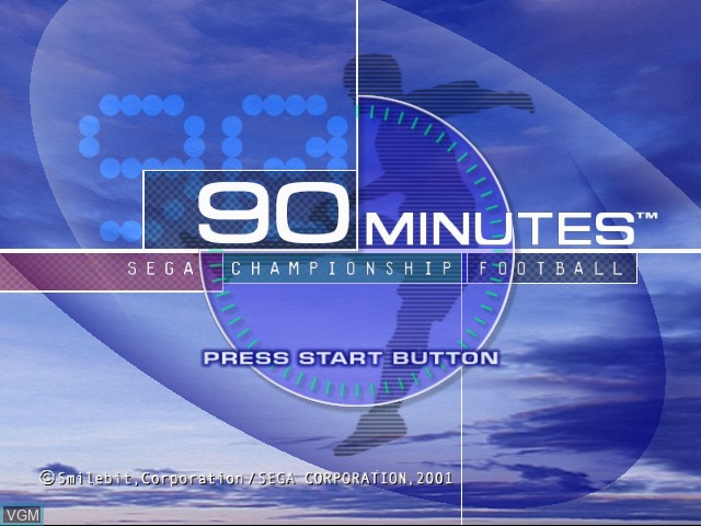 Title screen of the game 90 Minutes - Sega Championship Football on Sega Dreamcast