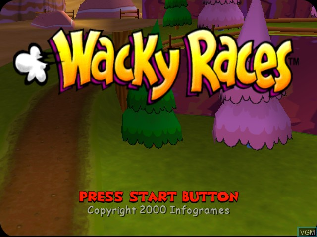 Title screen of the game Wacky Races on Sega Dreamcast