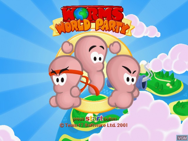 Title screen of the game Worms World Party on Sega Dreamcast