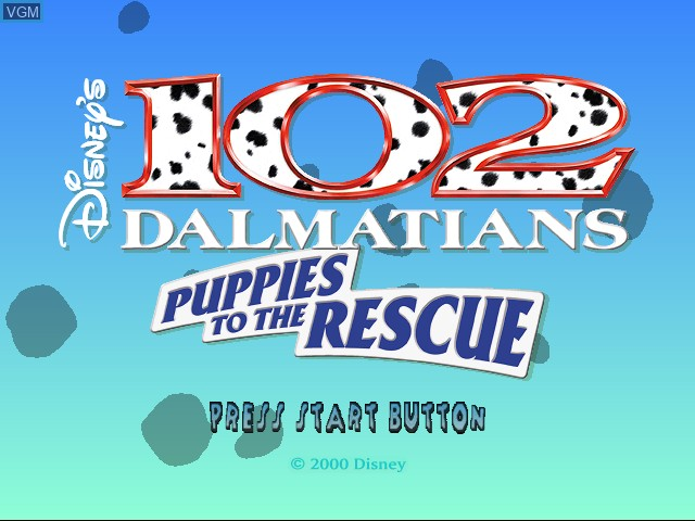 Title screen of the game 102 Dalmatians - Puppies to the Rescue on Sega Dreamcast