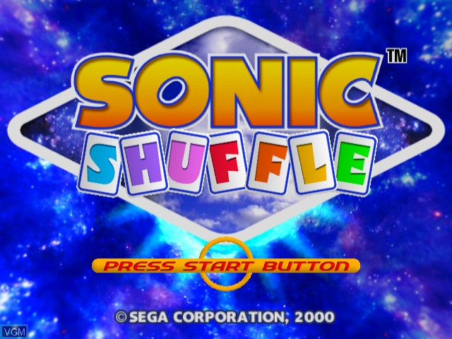 Title screen of the game Sonic Shuffle on Sega Dreamcast