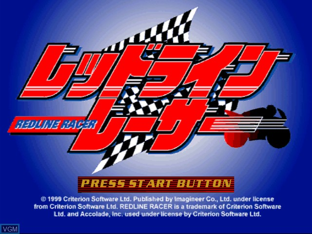 Title screen of the game Redline Racer on Sega Dreamcast